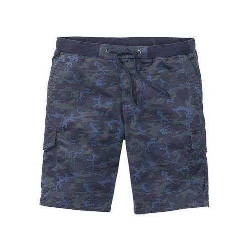 Bonprix Bermudy bojówki ze ściągaczem loose fit niebieski moro