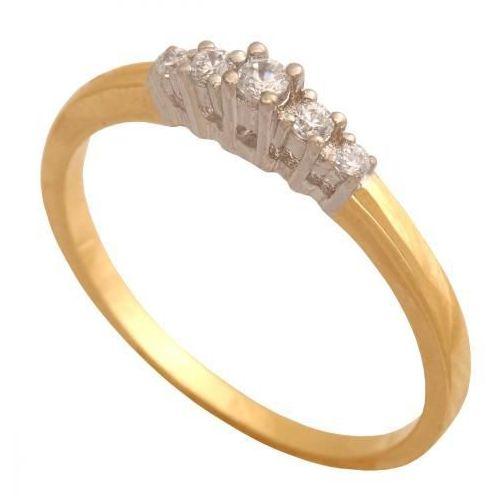 Delikatny pierścionek z pięcioma cyrkoniami w rzędzie.31485, 31485
