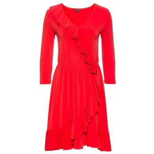 Sukienka z założeniem kopertowym bonprix truskawkowy, kolor czerwony