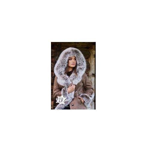 Kożuch damski sk002 - płaszczyk 100 cm / kaptur / obszycie, F.p. leather
