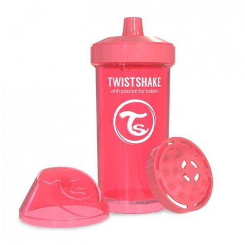 Twistshake - kubek niekapek z mikserem do owoców, brzoskwiniowy 360ml