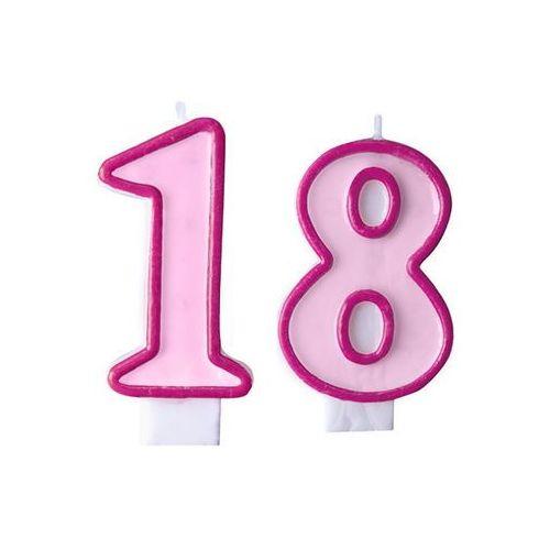 Ap Świeczki cyferki różowe - 18 - osiemnastka - 2 szt