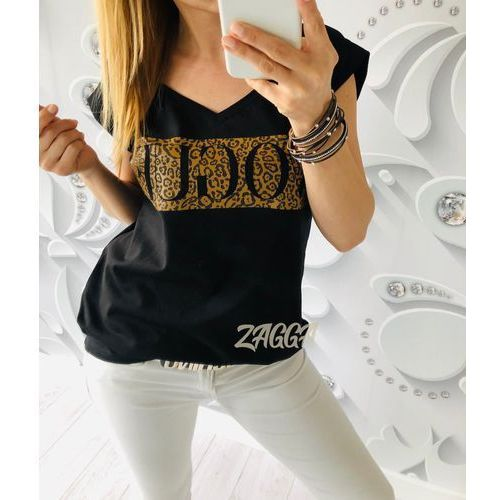 t-shirt VOGUE v-dekolt czarny