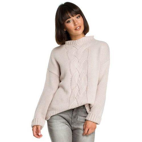 4d17bf3d61 ... Sweter damski z warkoczem różowy BK003