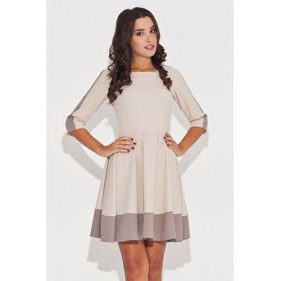 ecc6f03500 Katrus Elegancka beżowa sukienka z rękawem 3 4 z kolorowymi lamówkami MOLLY