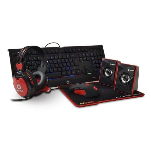 Zestaw gamingowy 5 w 1 HIRO Destro (klawiatura, mysz, słuchawki, podkładka, głośniki) (5900626860888)