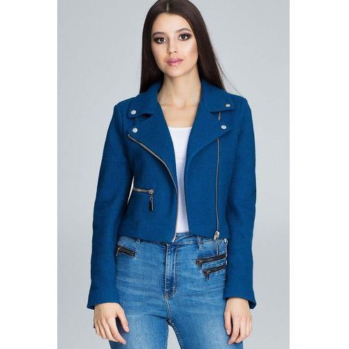 Niebieska krótka elegancka kurtka z suwakami, Figl, 36-42