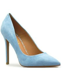 Czółenka Badura 2573-69 Niebieskie zamsz, kolor niebieski