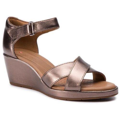 Sandały CLARKS - Un Plaza Cross 261423084 Pebble Metalic, w 9 rozmiarach