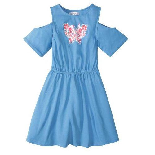 afb0a3a843f41 ▷ Sukienka z wycięciami na ramionach niebiesko-biały (bonprix ...
