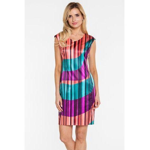 Zwiewna sukienka w energetyczny print - Potis & Verso
