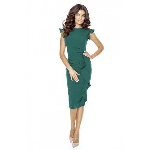 Stylowa zielona sukienka z falbanką, Kartes moda, 36-44