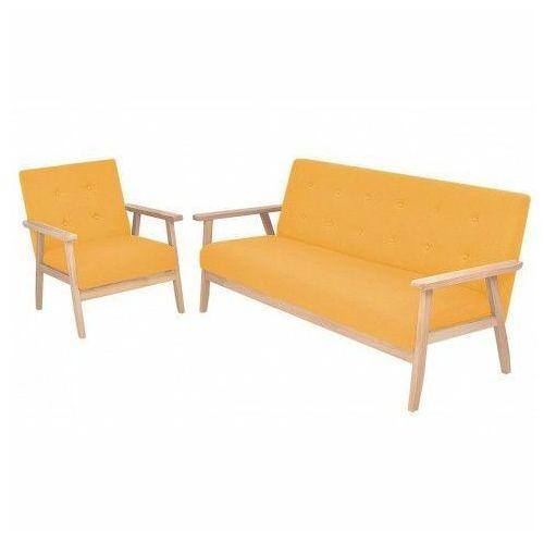 Tapicerowany zestaw wypoczynkowy Edris 2X - Żółty, vidaxl_274917