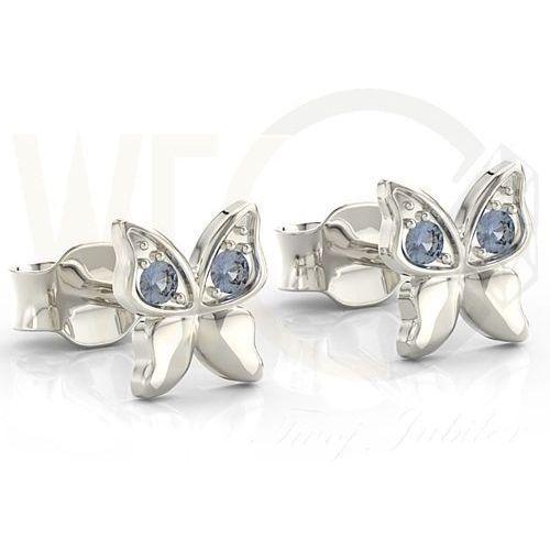 Kolczyki motylki z białego złota z niebieskimi cyrkoniami BPK-88B-C - Białe, kolor niebieski