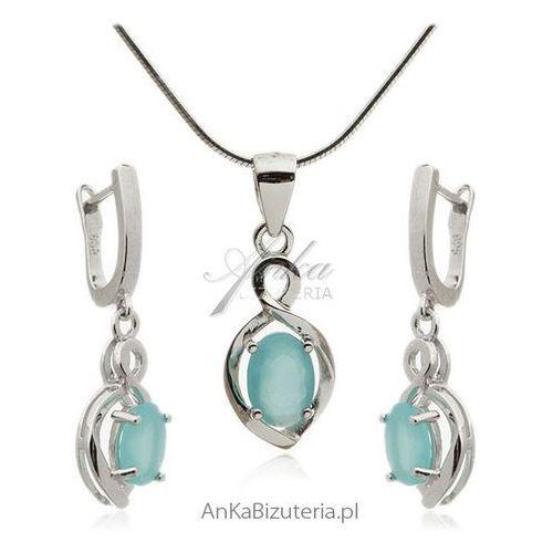 Komplet biżuteria srebrna z lazurową cyrkonią Anka biżuteria