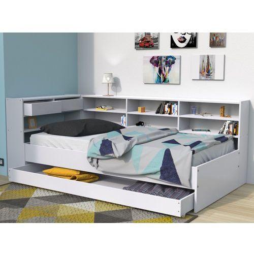 Łóżko z szufladami i półkami RENATO II - 90 × 190 cm - biały