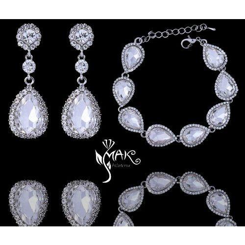 Kpl 656/11 komplet, biżuteria ślubna cyrkonie duże kolczyki