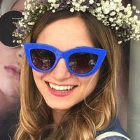 Okulary przeciwsłoneczne damskie kocie oko niebieskie