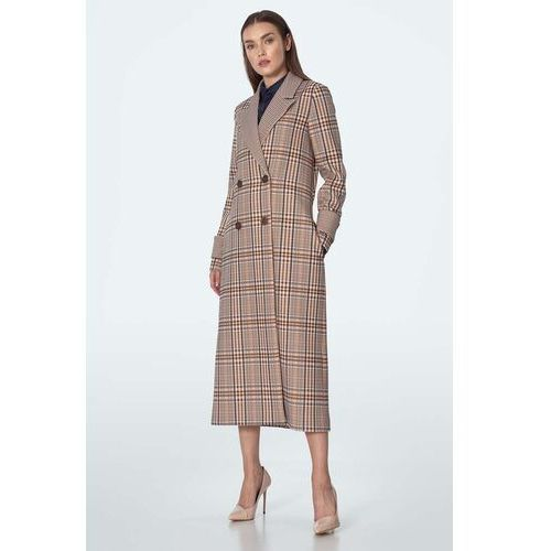 Dwurzędowy długi płaszcz w kratę - beżowy, 1 rozmiar