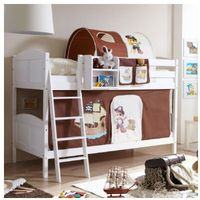 Ticaa kindermöbel Ticaa łóżko piętrowe erni country pirat białe drewno sosnowe kolor brązowo-beżowy