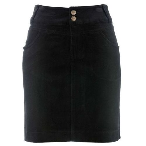Spódnica sztruksowa bonprix czarny, kolor czarny