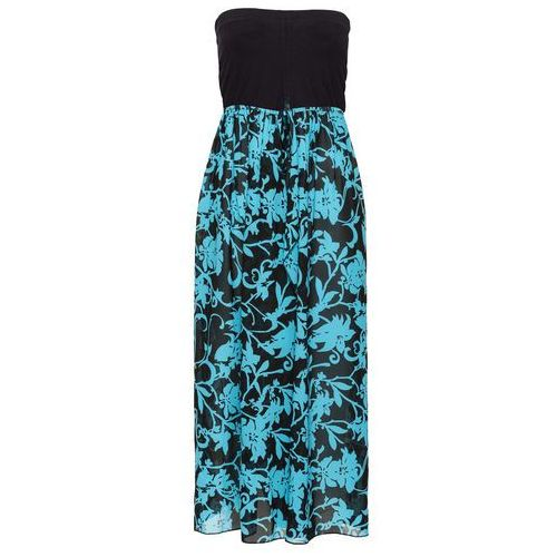 Sukienka plażowa bonprix czarno-turkusowy, kolor czarny