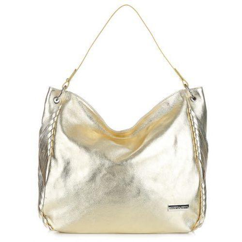 eleganckie torebki skórzane shopper na każdą okazje złoty (kolory) marki Vittoria gotti