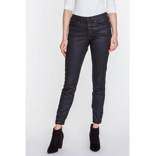 Czarne spodnie woskowane SABRINA, kolor czarny