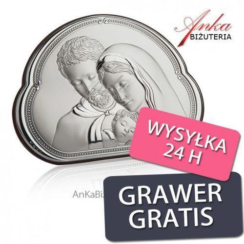 Ankabizuteria.pl piękny obrazek srebrny święta rodzina 14 cm* 10 cm marki Valenti & co