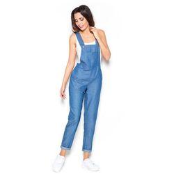 Jeansowe Chabrowe Spodnie Ogrodniczki, jeans