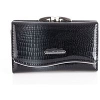 Czarny lakierowany portfel damski skórzany z brokatem Jennifer Jones
