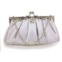 Delikatna satynowa torebka wieczorowa srebrna - srebrny