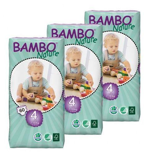 Eko pieluszki jednorazowe maxi 7-18 kg, karton (3op x 60szt), abena Bambo nature