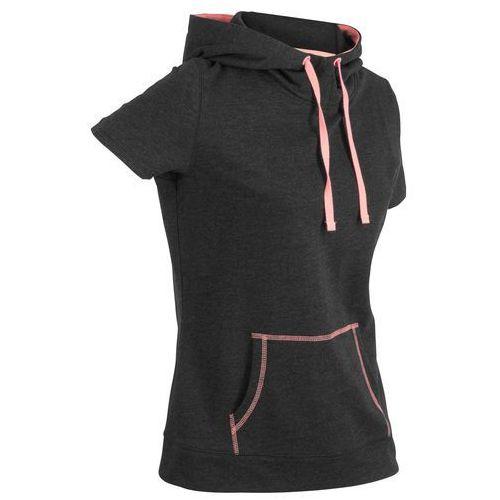 Bluza z krótkim rękawem bonprix czarno-łososiowy neonowy, kolor czarny