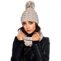 Kobiecy komplet czapka z pomponem i komin LC114 capucino