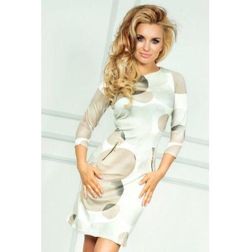 38-4 sukienka z zamkami - duże beżowe koła, Numoco