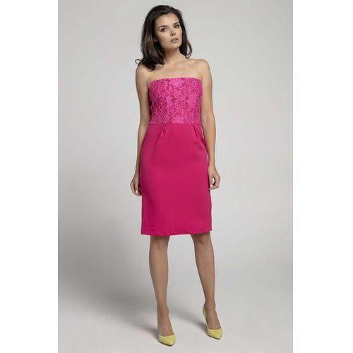 e9bb08684f Różowa Koktajlowa Sukienka o Fasonie Tuby z Odkrytymi Ramionami z Koronką