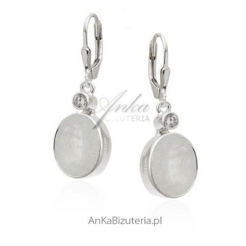 Piękne kolczyki srebrne z kamieniem księżycowym i cyrkonią - duże, kolor szary