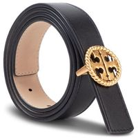 Pasek Damski TORY BURCH - 1'' Twisted Logo Belt 61134 Black 001