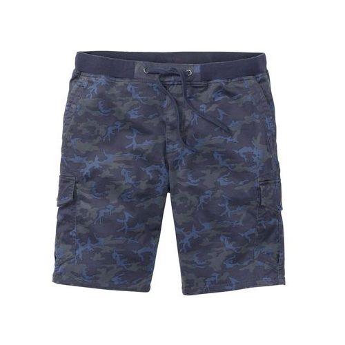Bonprix Bermudy bojówki ze ściągaczem loose fit niebieski z nadrukiem