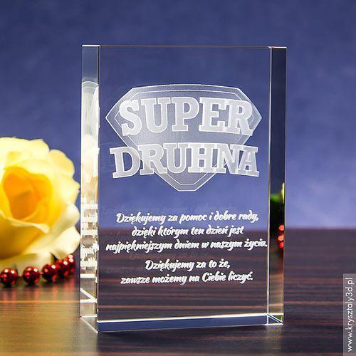 Odznaka 3D »Super Druhna« • personalizowany kryształ 3D • GRAWER 3D