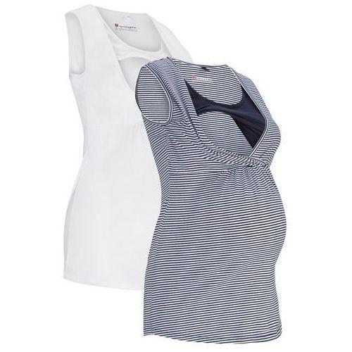 Top ciążowy i do karmienia piersią (2 szt.) bonprix ciemnoniebiesko-biały w paski + biały, kolor niebieski