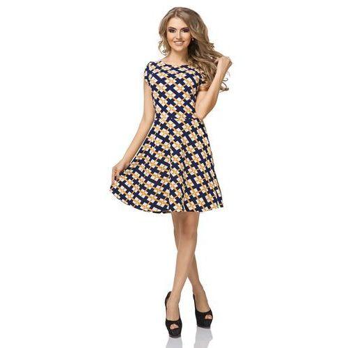 Sukienka Wzorzysta Rozkloszowana z Mini Rękawkiem Wzór - Romby, kolor żółty
