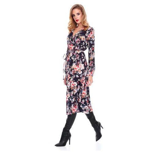 Sukienka Marion czarna w kwiaty, w 2 rozmiarach
