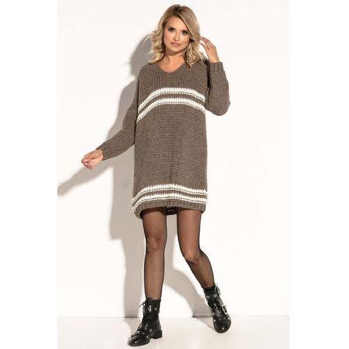 cce056fdf9 Zobacz ofertę Fobya Mocca luźna wełniana sukienka z kontrastowymi paskami