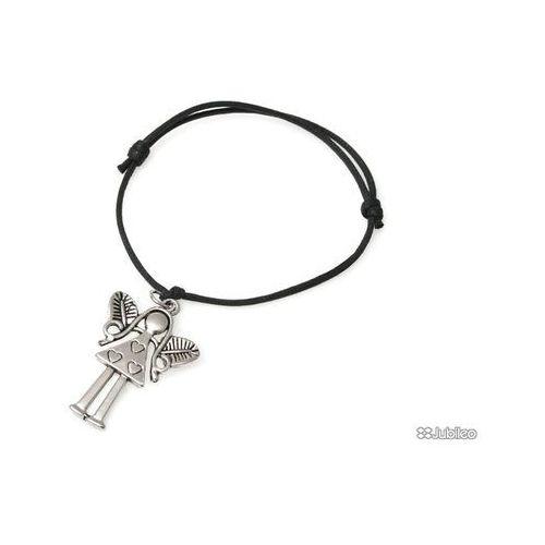 BRANSOLETKA Z ANIOŁKIEM metal amulety talizmany kolor czarny