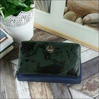 Skórzany portfel damski czarno -zielony forever young 76119