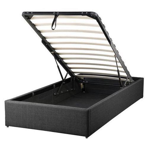 łóżko Szare Tapicerowane Podnoszony Pojemnik 90 X 200 Cm Dinan Kolor Szary Beliani