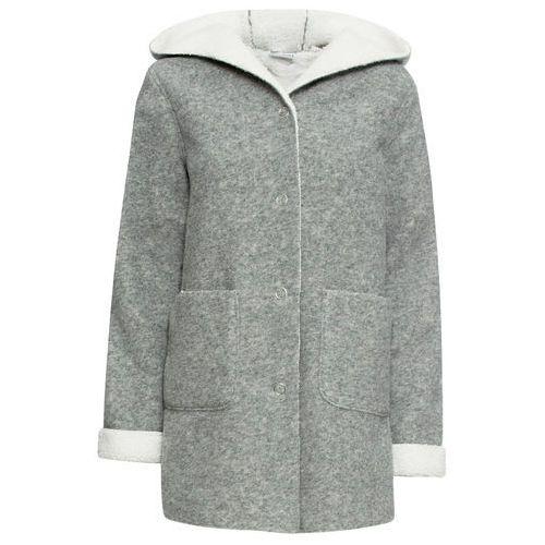 Krótki płaszcz na podszewce baranku, długi rękaw szary melanż - biel wełny, Bonprix, 34-46
