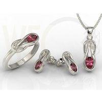 Zestaw: pierścionek, kolczyki i wisiorek z białego złota z rubinami bp-69b-zestaw - białe \ rubin marki Węc - twój jubiler